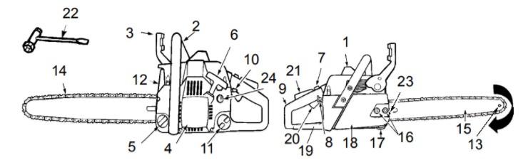 Устройство бензопилы Партнёр 350 - схема